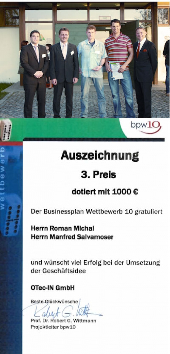 Es freut uns, Ihnen mitteilen zu können, dass wir im Businessplan-Wettbewerb den 3. Platz erreicht haben!